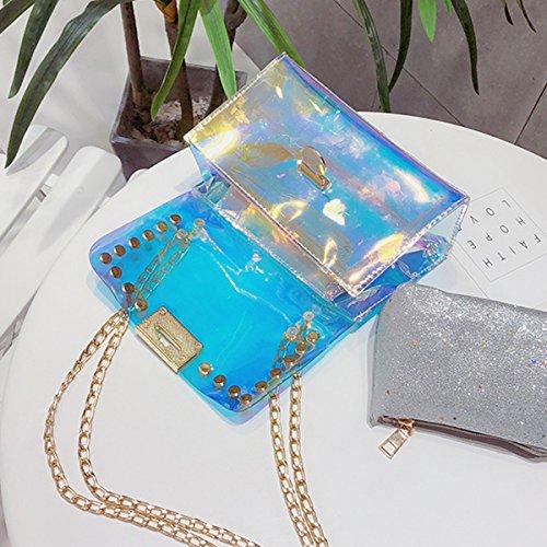 Hologram Colorful Women's Bag with Laser Handbag Crossbody Style Transparent PVC Bag Lock Flada Shoulder 2 Clear FvpxwHptq
