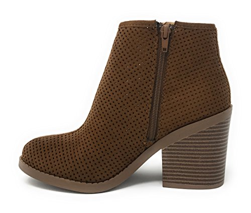 MVE Schuhe Soda Womens Ziel perforiert Stacked Blockabsatz Ankle Bootie Cognac * Ta