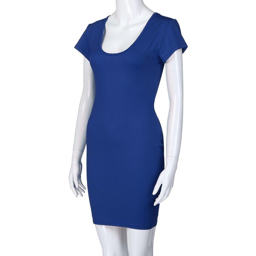 Ladies Sexy Dress,LuluZanm Women Short Sleeve Solid V-Neck Slim Casual Mini Beach Dress Blue by Luluzanm-Dress (Image #6)