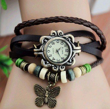 Women Weave Wrap Leather Bracelet Wrist Watch Brown - 5