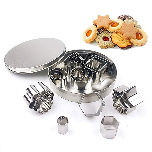 Set of 24 Cookie Molds in Various Shape, Baking Utensils Stainless Steel Fondant Cake Cutters with Iron Box, Biscuit Pastry Donuts, Muffins, Crumpets and Scones,Hexagon Style