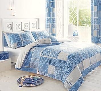 marroqu patchwork mezcla de algodn funda de edredn colcha individual color gris y azul