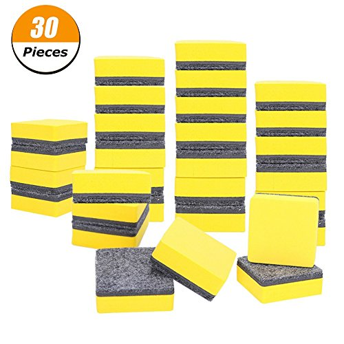 Xinzistar 30 Pack Magnetic Whiteboard Dry Erasers Chalkboard Cleansers for Classroom, Home and Office (2 x 2 inch, Yellow)