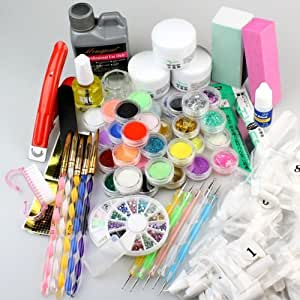 Amazon Com Pro Color Nail Art Acrylic Powder Set False Nail Tips Full Manicure Kit Beauty