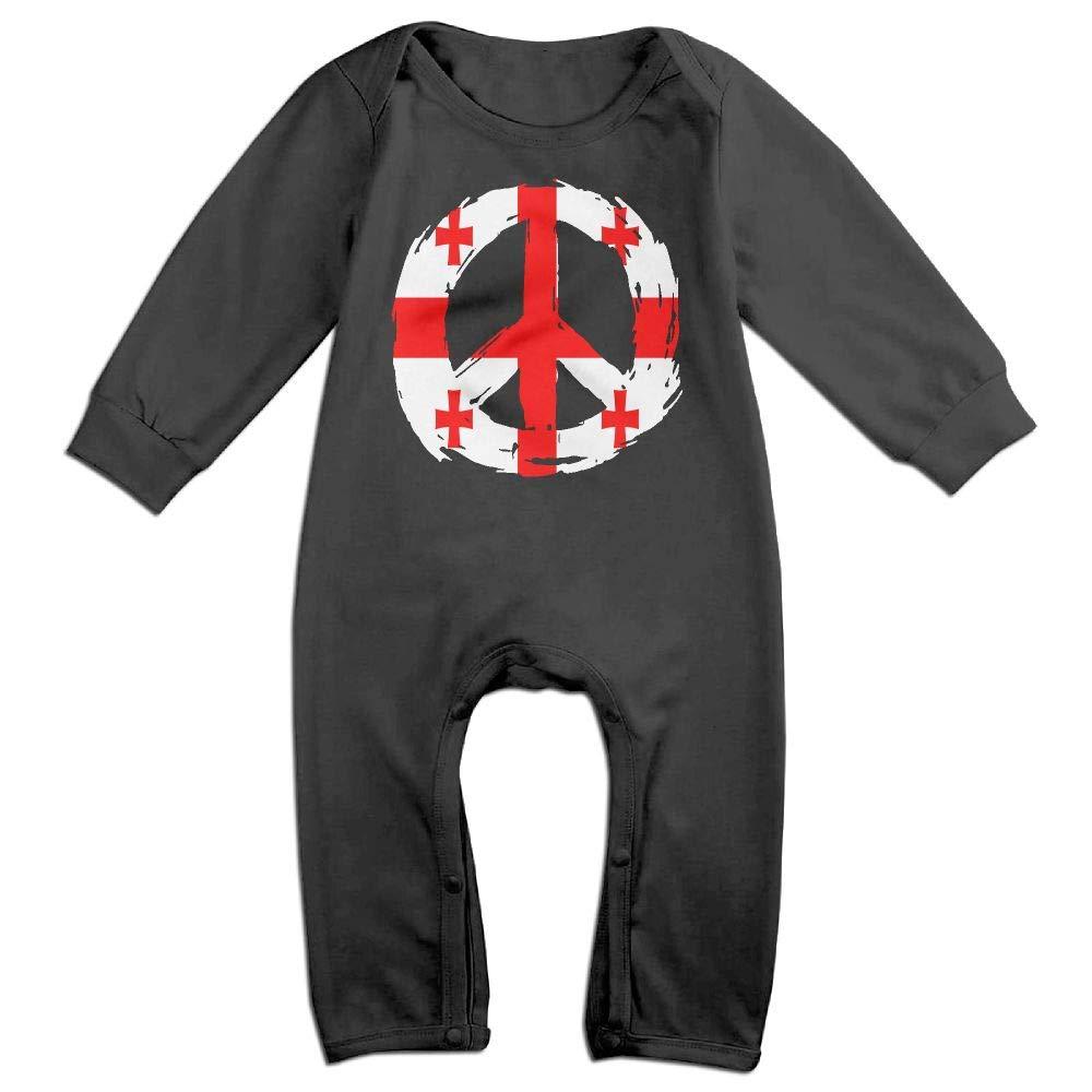 Toddler Baby Boy Girl Long Sleeve Jumpsuit Georgia Flag Peace Toddler Jumpsuit