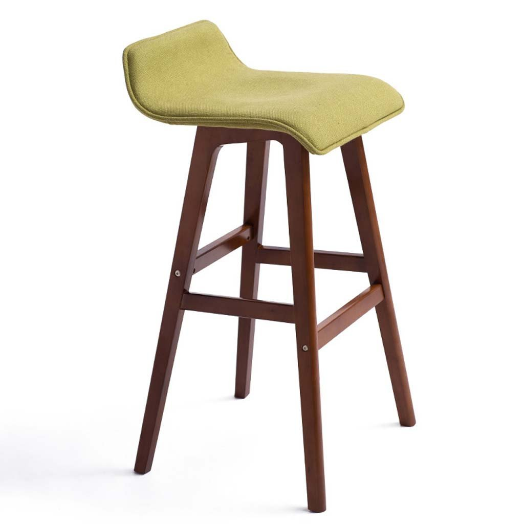Green TLMY Solid Wood Bar Chair Creative Bar Stool European Bar Stool High Stool Chair (color   Beige)
