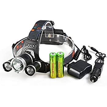 8000 Lumens Headlamp LED Flashlight Bright Headlight Torch with 18650 Rechargeable Batteries and Wall Charger for Outdoor