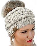 Messy Bun Hat Beanie CC Quality Knit (Oatmeal Flecked)