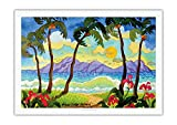 Tropical Palms - Beach Paradise - Hawaii - Hawaiian Islands - From an Original Watercolor Painting by Robin Wethe Altman - Fine Art Rolled Canvas Print - 27in x 40in