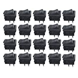 Saim 20 Pcs AC 250V 3A 2 Pin ON/OFF I/O SPST Snap in Mini Boat Rocker Switches