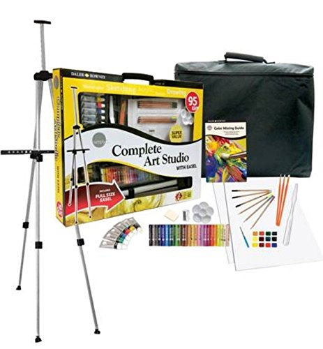Daler Rowney Complete Art Set With Carrying Case And Easel 95 Pieces