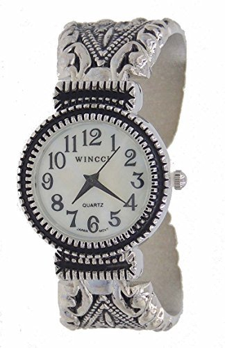 (Women's Vintage Style Easy Read Bangle cuff Watch-Silver Tone)