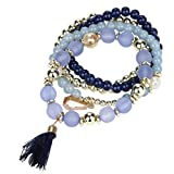 Creazy Women Multilayer Beads Bangle Bracelets (Blue)