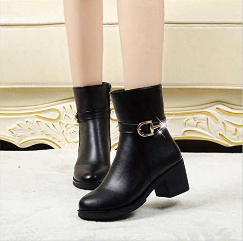 KHSKX-Black 6Cm Shorter Martin Boots Female The Wind High Help Side Zipper Coarse With Thick Leather Shoes Woman Sleek And Versatile Short Boots Autumn And Winter Tide 38 Gx0QQE7d