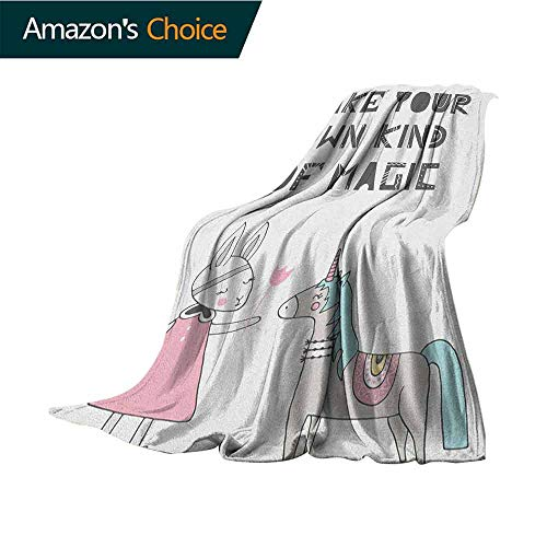 Nursery Cool Blanket,Bunny in a Dress with Unicorn in Scandinavian Style and Motivational Magic Quote Microfiber All Season Blanket for Bed or Couch,30