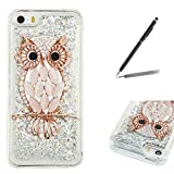 Trumpshop Smartphone Protective Case for Apple iPhone 5/5s/SE/5C Creative Flowing Liquid Quicksand + Owl + Ultra Soft Flexible TPU Silicone Cover Anti-Scratch Shockproof