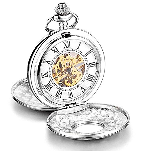 LOCHING Luxury Retro Mechanical Pocket Watch Hollow Skeleton Unisex Silver Case Pendant with Chain (Stainless Steel Pendant Watch)
