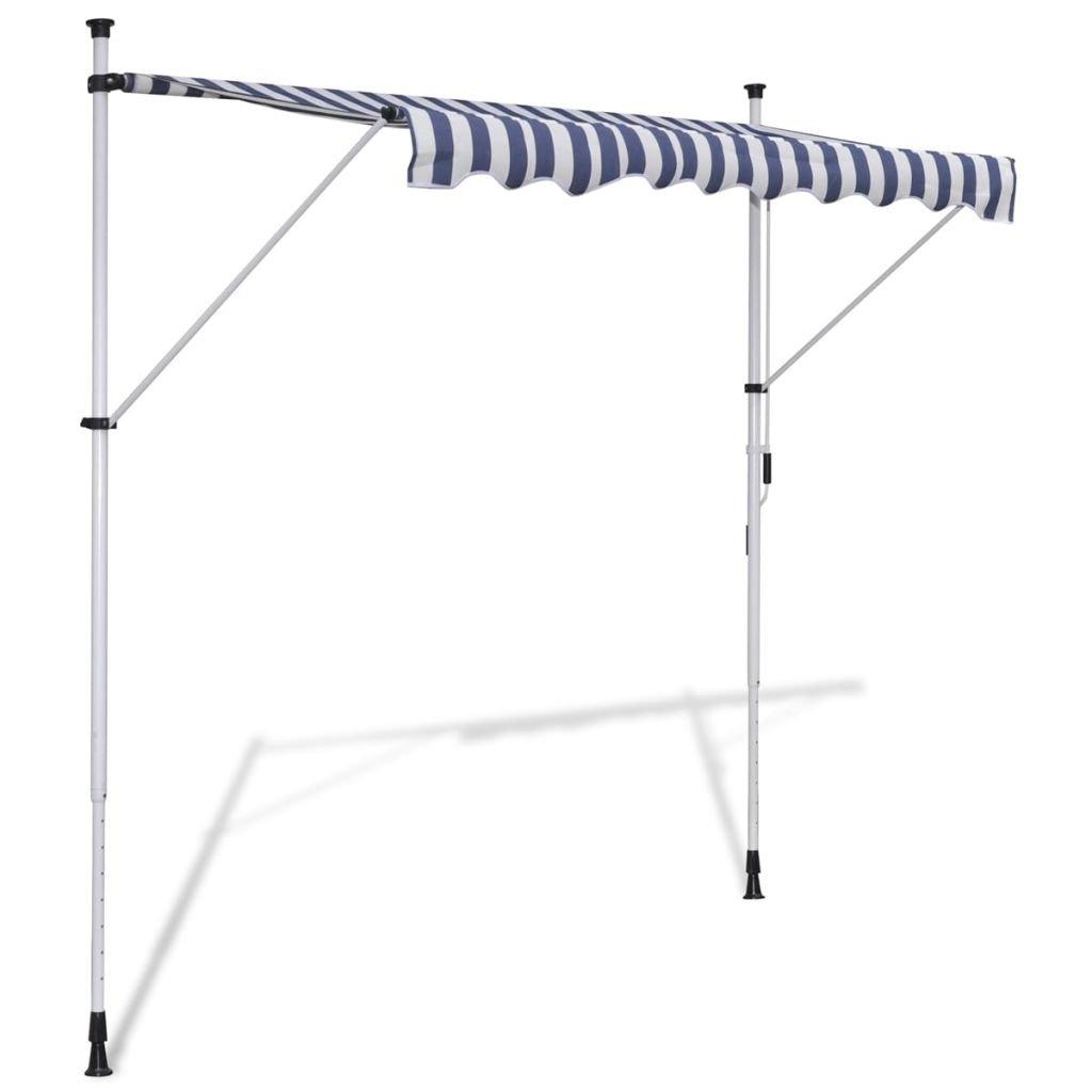 vidaXL Tenda da Sole Retrattile Manuale 150 cm Blu/Bianco Parasole Tendalino