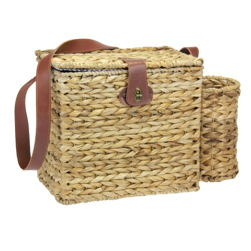 Household Essentials Romantic Wicker Picnic Basket for 2 with Wine Caddy, Natural (Wine Bottle Basket)