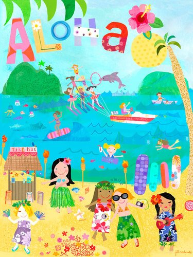 Oopsy Daisy Aloha Girls Stretched Canvas Wall Art by Jill Mcdonald, 30 by 40-Inch