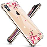 GVIEWIN Compatible for iPhone Xs/X Case, Clear Flower Pattern Design Soft & Flexible TPU Ultra-Thin Shockproof Transparent Floral Cover, Cases iPhone X/iPhone 10 (Peach Blossom)