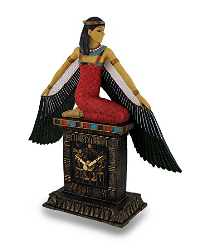 Resin Desk Clocks Hand Painted Egyptian Winged Goddess Isis Desk Clock Ancient Egypt 9 X 9.5 X 3 Inches - Egypt Megastore