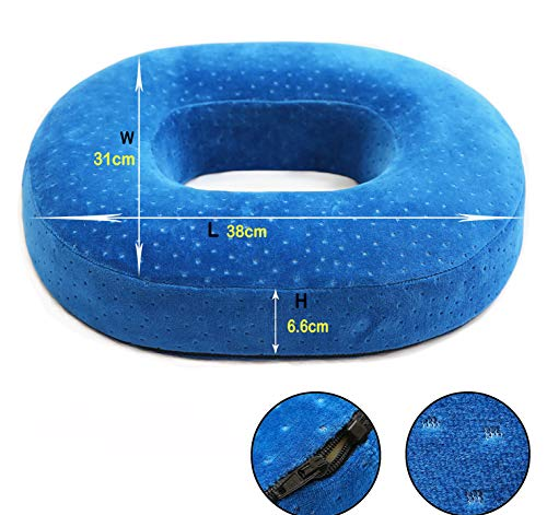 HZDY Premium Memory Foam Donut Seat Cushion Pillow. Non-Slip Chair Pad. Sciatica, Tailbone Hemorrhoids Surgery. Firm and Durable Cushion. Detachable Velvet Cover. (Easy Rest Gel Bliss Memory Foam Pillow)