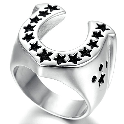 Nose'n Around Wolf Nose (Stainless Steel Ring for Men, U Star Ring Gothic Black Band Silver Band 22MM Size 13 Epinki)