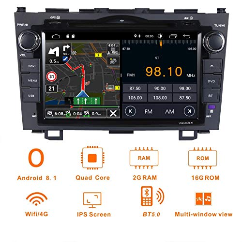 Android 8.1 Car Stereo 8 Inch Capacitive touch screen (IPS panel) for Honda CRV CR-V 2007 2008 2009 2010 2011 Double 2 Din Car GPS Navigation Radio Bluetooth OBD2 DVR 3G WIFI - Radio Crv