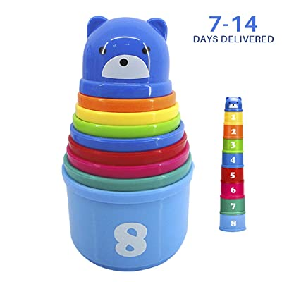 HuoBi 9 Pieces Stacking and Nesting Cups Early Learning Toys,Educational Rainbow Stacking & Nesting Cups Baby Building Set Stacking Cups Early Educational Toddlers Toy for Baby(Color Randomly): Toys & Games