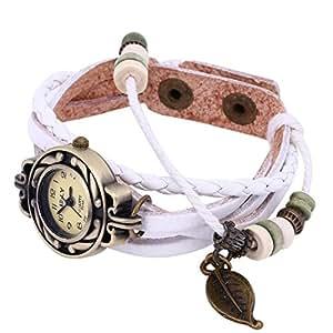 KANO BAK Leaf Charm White Color Women Ladies Weave Leather Belt Bracelet Watch