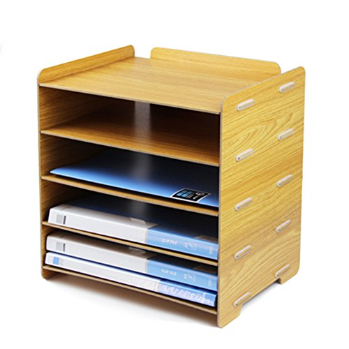 Tier Detachable Wooden Grain Design Desk Holder Files Storage
