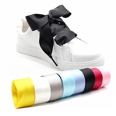 412cc21979c COOL LACE Satin Ribbon Shoelaces Flat Shoe Laces for Sneakers (37.4 quot