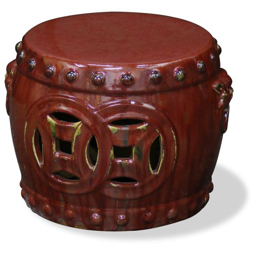 China Furniture Online Porcelain Garden Stool, Drum Design with Coin Carving Motif Red
