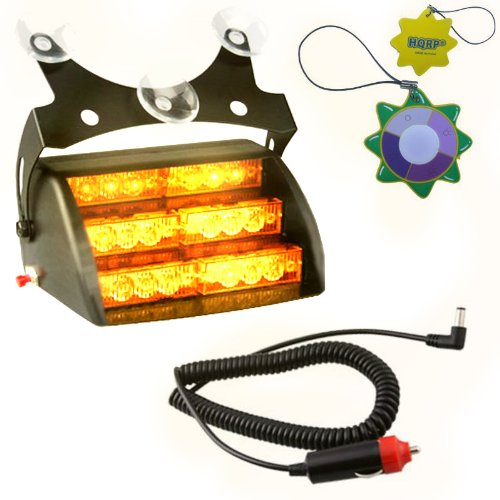 - HQRP Car 18 LED Emergency Vehicle Dash Truck Deck Warning Amber Strobe Flash Light w/ 3 Suction Cups + HQRP UV Meter