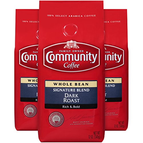 Community Coffee Signature Blend Dark Roast Premium Whole Bean 12 Oz Bag (3 Pack), Full Body Rich Bold Taste, 100% Select Arabica Coffee Beans