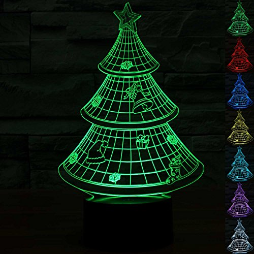 Unique Night 3D Christmas Tree Balloon 7 Color LED Does Not Get Hot By ALUONI Ideal In A Nursery or bedroom a Great Unique Gift Idea