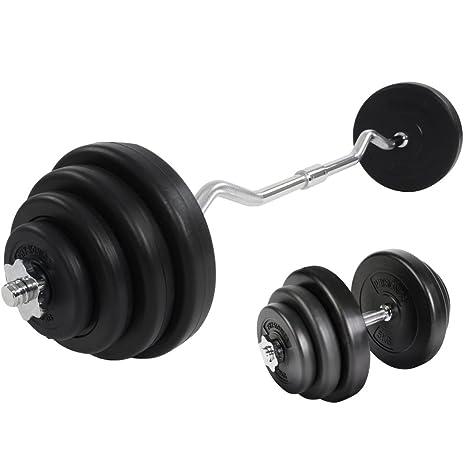 Physionics – Juego para gimnasio – Barra curva 23.5 kg + mancuernas 20 kg