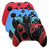 HDE Xbox One Controller Skin 4 Pack Combo Silicone Rubber Protective Grip Case Cover for Microsoft Xbox 1 Wireless Gamepad (Red, Blue, Blue Black Marble, Black Red Marble)