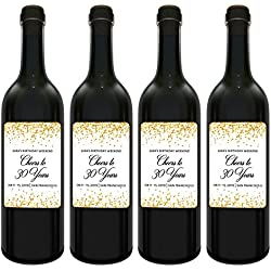 "Cheers to Years Wine Label Bottle Stickers for Birthday Celebration|Personalized Birthday Weekend Labels - Golden - Customizable Milestone Label Stickers, 3.75"" x 4.75"", set of 4"