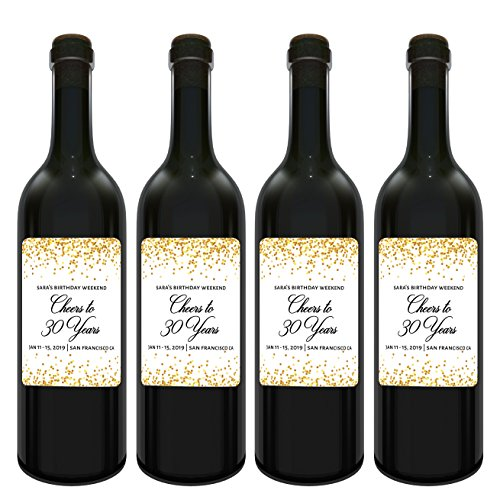 Cheers to Years Wine Label Bottle Stickers for Birthday Celebration|Personalized Birthday Weekend Labels - Golden - Customizable Milestone Label Stickers, 3.75