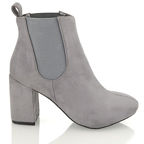 Ankle Biker Grey Heel Womens Chelsea Mid Boots Casual Faux Elasticated Winter GLAM Gusset Booties Block Suede Pull Riding ESSEX On 6TwqAtF