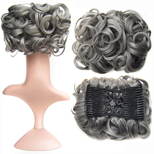 - SWACC Short Messy Curly Dish Hair Bun Extension Easy Stretch hair Combs Clip in Ponytail Extension Scrunchie Chignon Tray Ponytail Hairpieces (Grey)