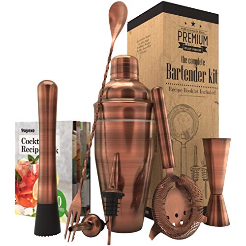 (All-inclusive Bar Set | Professional Home Bartender Cocktail Shaker Set | Includes a Recipe Book & All Necessary Bar Tools and Accessories | Impressive Gift for Men! (Brushed Copper))