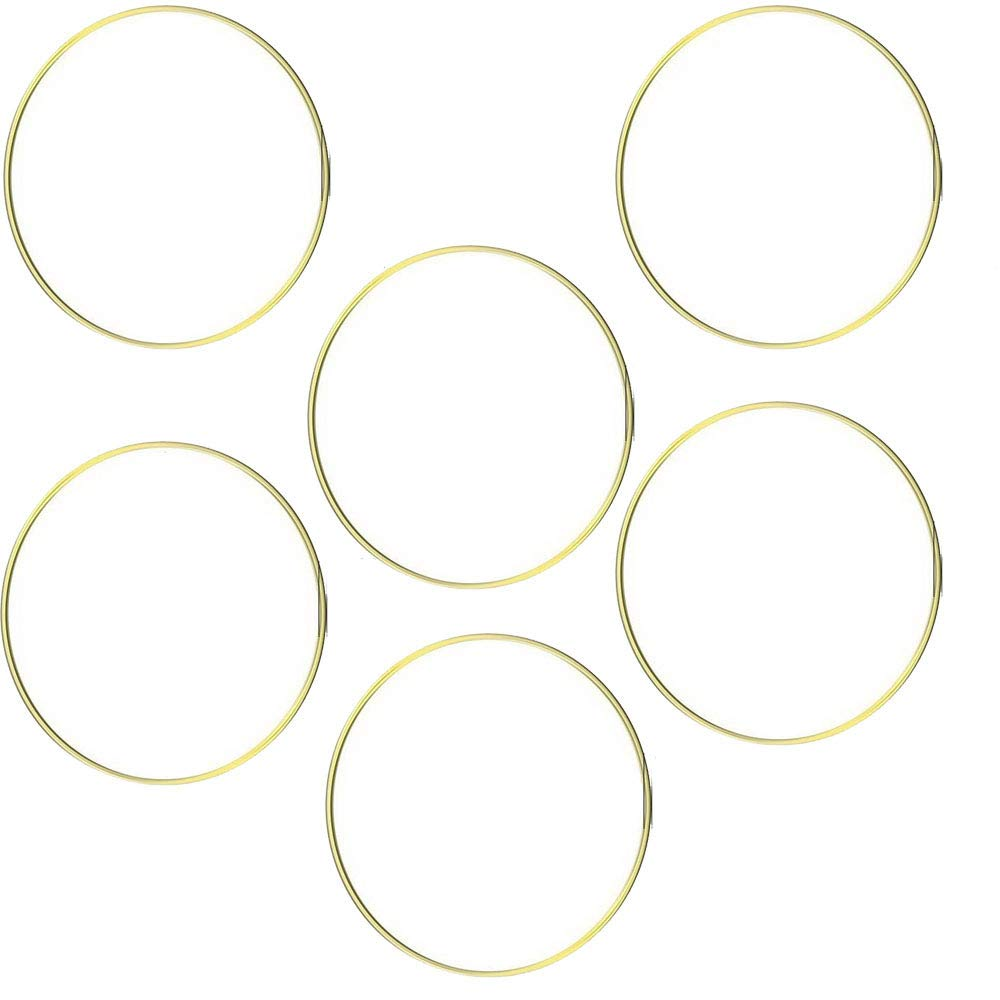 HOHIYA Macrame Hoops Ring for Dream Catcher Metal Crafts Round Brass Plated 6inch Gold,Pack of 6