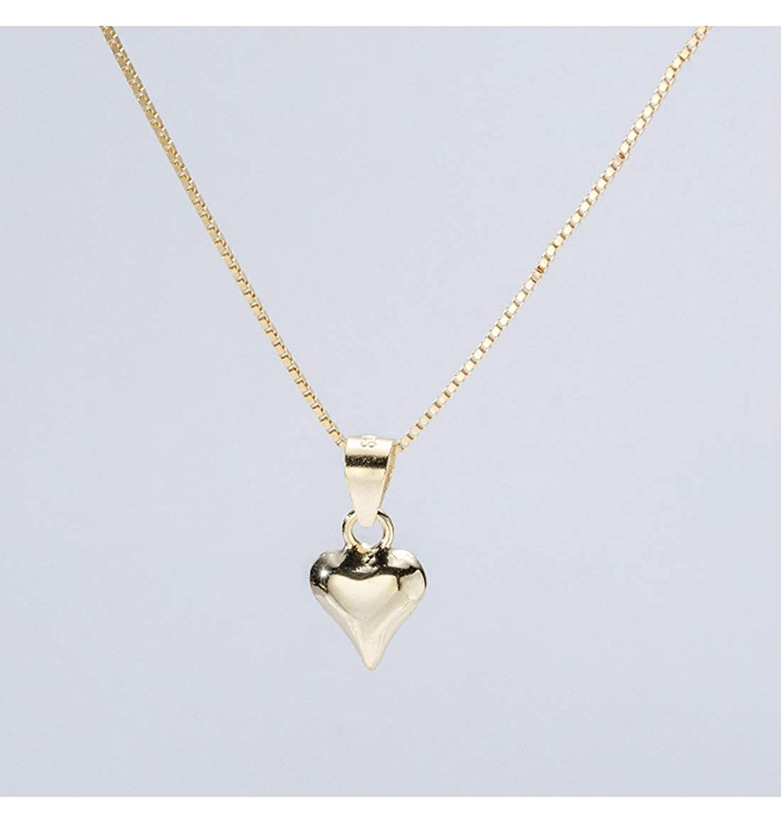 Yellow Gold FarryDream Genuine 925 Sterling Silver Tiny Love Heart Tennis Necklace for Women Teen Girls