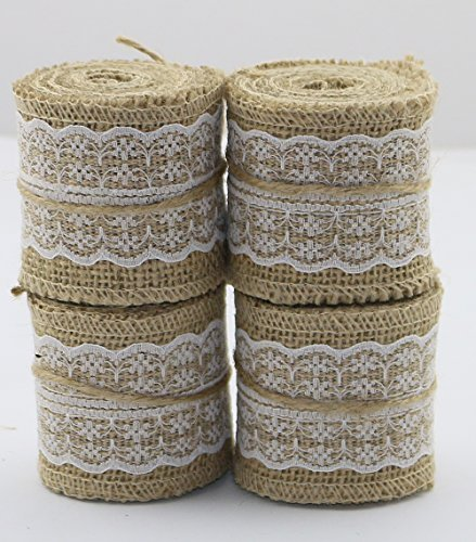 Set of 4 Natural Jute Burlap Rolls Ribbon with Lace 2.3