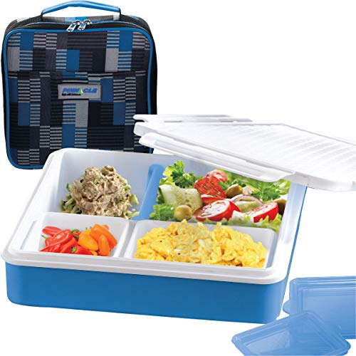 INSULATED BENTO LUNCH BOX - PINNACLE BENTAGO THERMO SLIM DESIGN, TRAY STYLE FOOD CONTAINER – LEAKPROOF - 3 COMPARTMENT PORTION CONTROLL – For Adults And Kids – Blue price tips cheap
