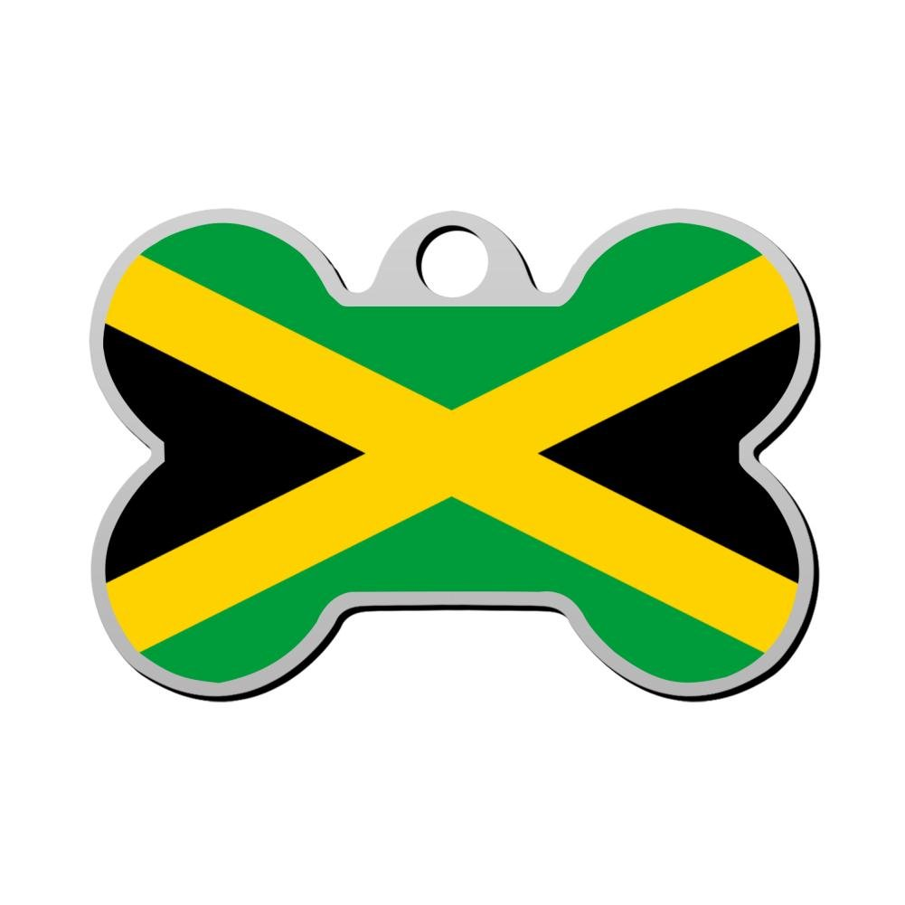 BSARRE Personalized Pet ID Tags for Dogs & Cats Jamaican National Flag Double Sided Bone Dog Tag