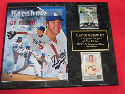 J & C Baseball Clubhouse Dodgers Clayton Kershaw 2011 CY Young Winner 2 Card Collector Plaque w/8x10 Photo (Clayton Kershaw Plaque)